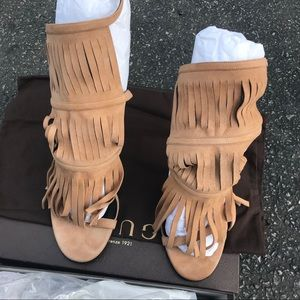 Authentic GUCCI Suede Fringe Becky Heels